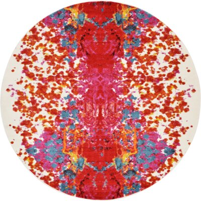 Shuman Red Area Rug Rug Size: Round 6