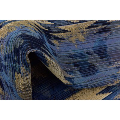 Avila Blue Abstract Indoor/Outdoor Area Rug Rug Size: Rectangle 22 x 3
