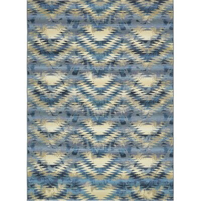 Avila Blue Abstract Indoor/Outdoor Area Rug Rug Size: Rectangle 8 x 114