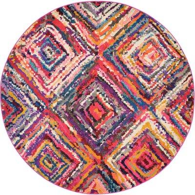 Killington Pink Area Rug Rug Size: Round 6