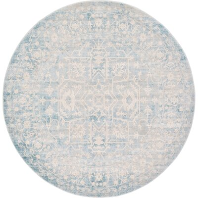 Bryant Oriental Light Blue Area Rug Rug Size: Round 6