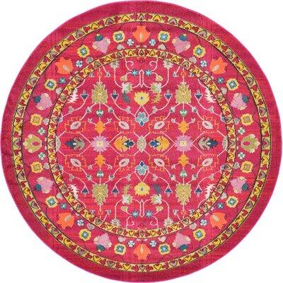 Iris Pink Area Rug Rug Size: Round 6