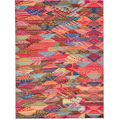 Aquarius Red/Blue Area Rug Rug Size: 9 x 12