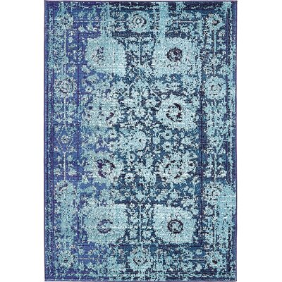 Yannis Blue Area Rug Rug Size: 4 x 6