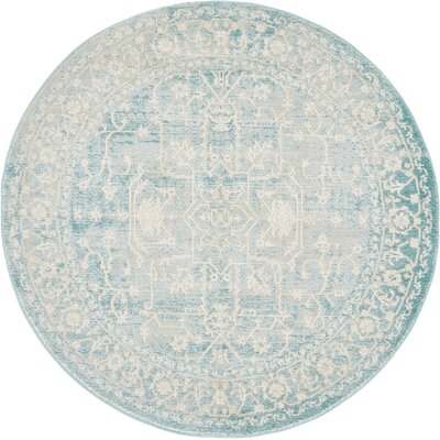 Bryant Oriental Light Blue Area Rug Rug Size: Round 4