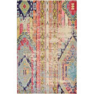 Newburyport Beige/Orange Area Rug Rug Size: Square 4