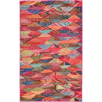 Aquarius Red/Blue Area Rug Rug Size: 33 x 53
