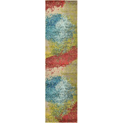 Demian Blue/Red Area Rug Rug Size: Runner 22 x 67