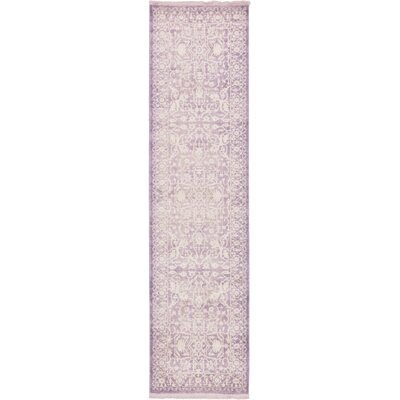 Bryant Purple /Ivory Area Rug Rug Size: Runner 27 x 10