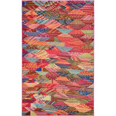 Aquarius Red/Blue Area Rug Rug Size: 5' x 8'