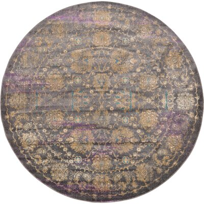 Sepe Gray Area Rug Rug Size: Round 8