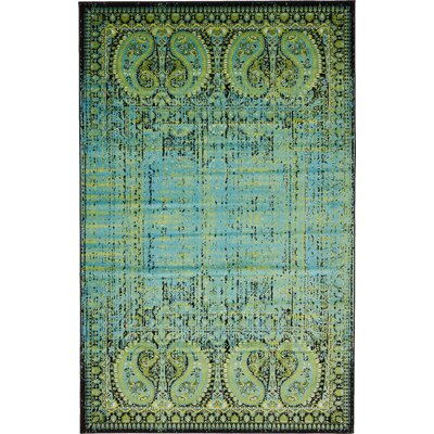 Neuilly Aqua/Black Area Rug Rug Size: Rectangle 4 x 6