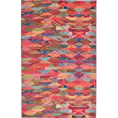 Aquarius Red/Blue Area Rug Rug Size: 10'6