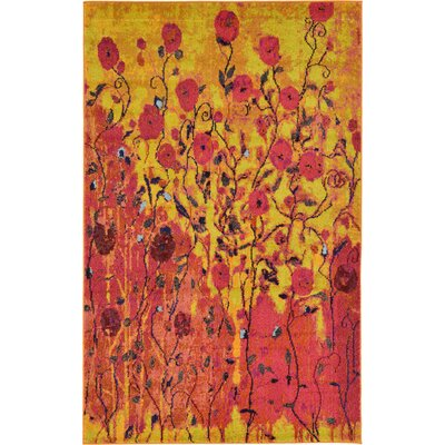 Roshan Orange Area Rug Rug Size: 5 x 8