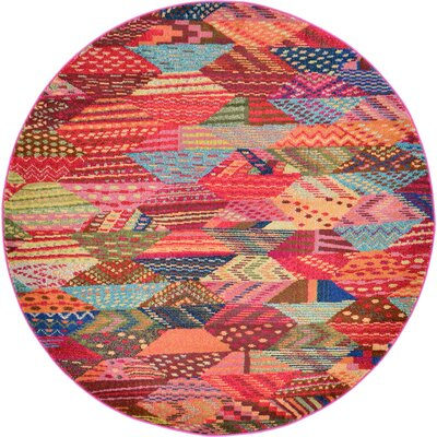 Aquarius Red/Blue Area Rug Rug Size: Round 6