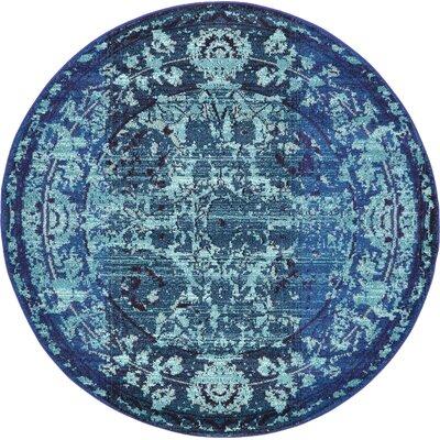 Yannis Blue Area Rug Rug Size: Round 6