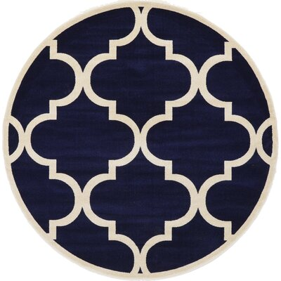 Moore Navy Blue Area Rug Rug Size: Round 8