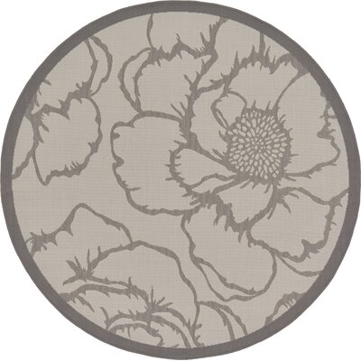 Amelia Gray Outdoor Area Rug Rug Size: Round 6