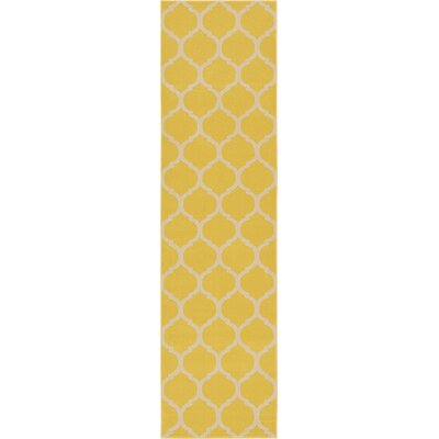 Moore Yellow Area Rug Rug Size: Runner 27 x 10