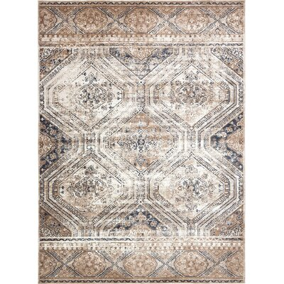 Abbeville Beige/Blue Area Rug Rug Size: Rectangle 9 x 12