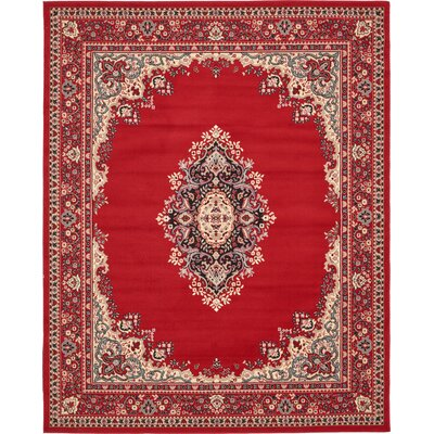 Charlie Red Area Rug Rug Size: Rectangle 8 x 10