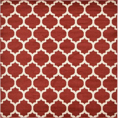 Emjay Rust Red Area Rug Rug Size: Square 8