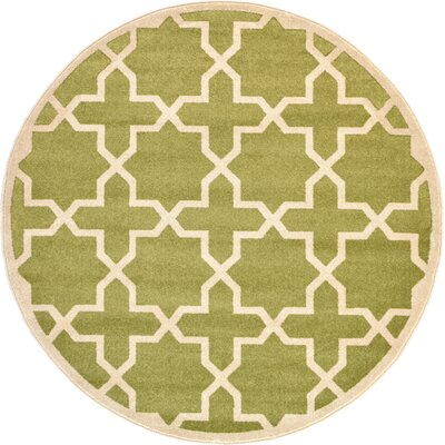 Moore Light Green Area Rug Rug Size: Round 6