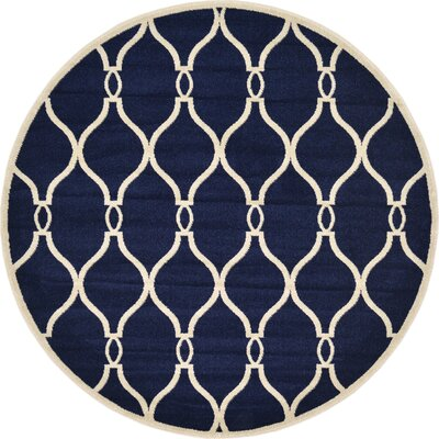 Molly Navy Blue Area Rug Rug Size: Round 6