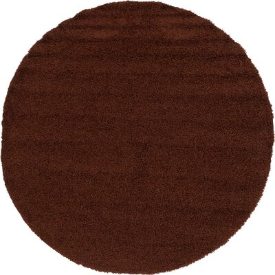 Chandler Solid Shag Brown Area Rug Rug Size: Round 8