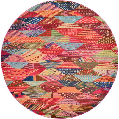 Aquarius Red/Blue Area Rug Rug Size: Round 8'