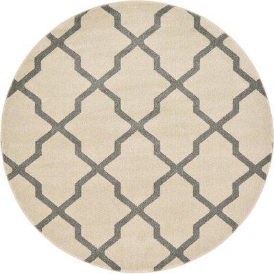 Kellie Ivory Geometric Area Rug Rug Size: Round 6'