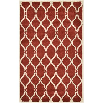 Molly Red Area Rug Rug Size: 33 x 53