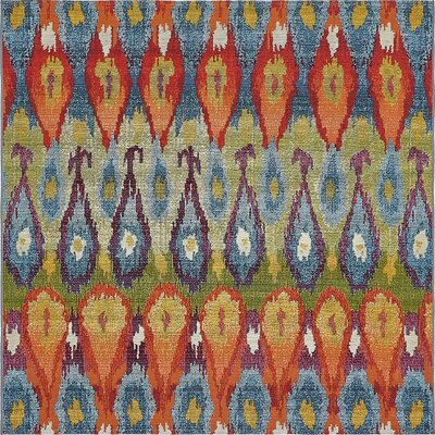 Jamie Blue Ikat Indoor/Outdoor Area Rug Rug Size: Square 6