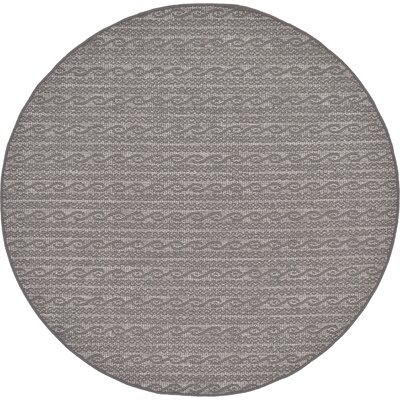 Madeline Gray Outdoor Area Rug Rug Size: Round 6