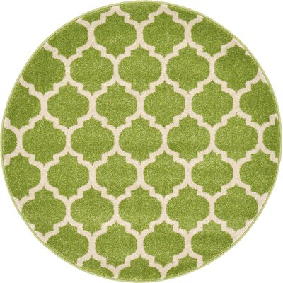 Emjay Light Green Area Rug Rug Size: Round 33