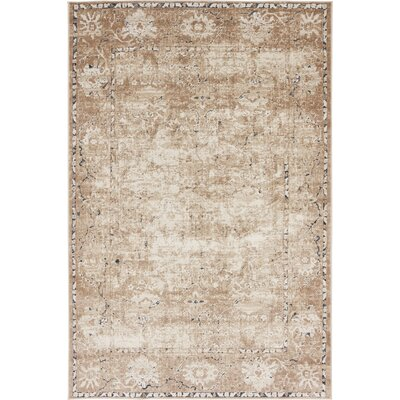 Abbeville Machine Beige Woven Area Rug Rug Size: 4 x 6