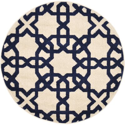 Moore Beige Area Rug Rug Size: Round 8
