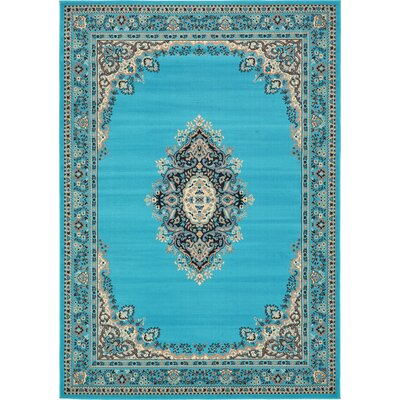 Charlie Turquoise Area Rug Rug Size: Rectangle 7 x 10
