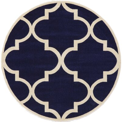 Moore Navy Blue Area Rug Rug Size: Round 6'