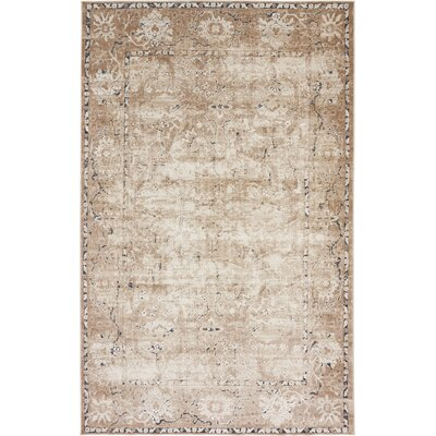 Abbeville Machine Beige Woven Area Rug Rug Size: 5 x 8