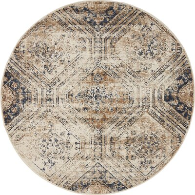 Abbeville Beige/Blue Area Rug Rug Size: Round 4 x 4