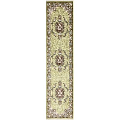 Courtright Green/Ivory Area Rug Rug Size: Runner 3 x 13