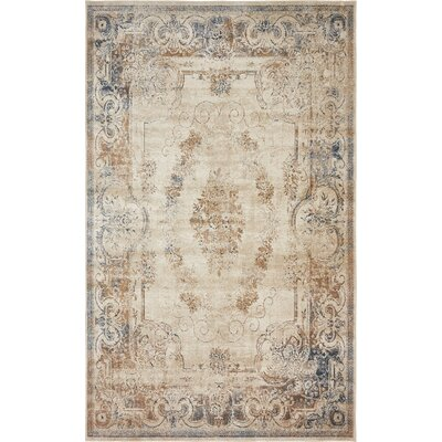 Abbeville Blue/Cream Area Rug Rug Size: 5 x 8