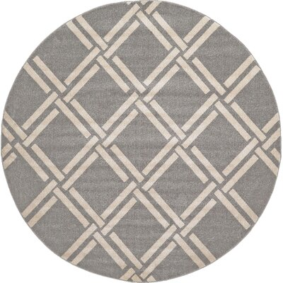 Seagate Gray Area Rug Rug Size: Round 8