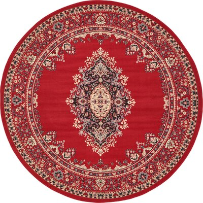 Charlie Red Area Rug Rug Size: Round 8