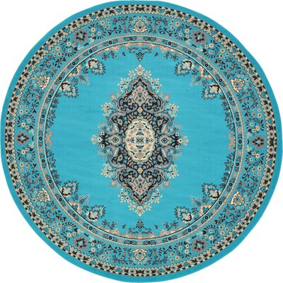 Charlie Turquoise Area Rug Rug Size: Round 8