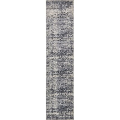 Abbeville Dark Blue/Gray Area Rug Rug Size: Runner 3 x 13