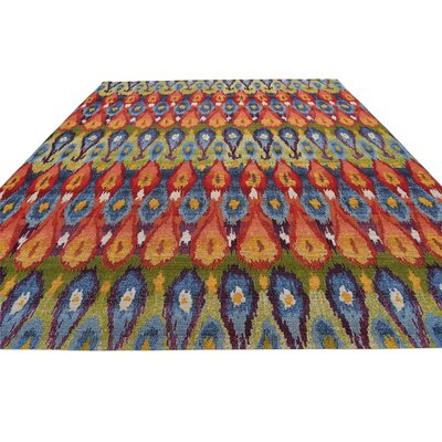 Jamie Blue Ikat Indoor/Outdoor Area Rug Rug Size: Round 8