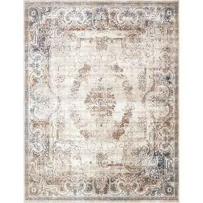 Abbeville Blue/Cream Area Rug Rug Size: 8 x 10