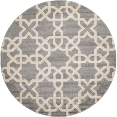 Moore Gray Area Rug Rug Size: Round 3 3